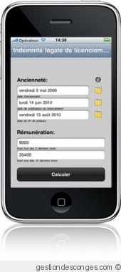 Cet utilitaire gratuit pour Iphone, Ipad et Ipod calcule l'Indemnité légale de licenciement